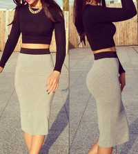 Sexy Round Neck Long Sleeve Solid Color Crop Top + Spliced Skirt Twinset
