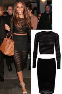 Black Sheer Mesh Stripes Skirt & Top Set