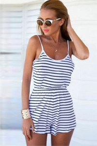 Women's Stripe Sleeveless Short Jumpsuit