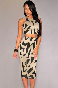 Gray Irregular Print Racer Back Midi Skirt Set