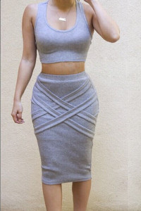 Gorgeous 2 Piece Top and Skirt Set - Grey
