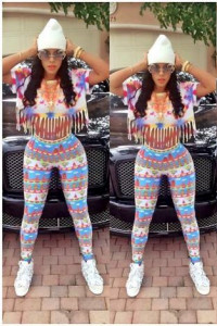 Keyshia's Floral Print Fashion Tassel 2 Piece Jumpsuit