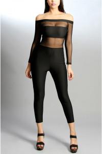 Black Mesh Insert Off-shoulder Sleeves Jumpsuit