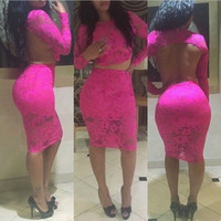 Open Back Sexy Long Sleeves Mini Dress - Pink