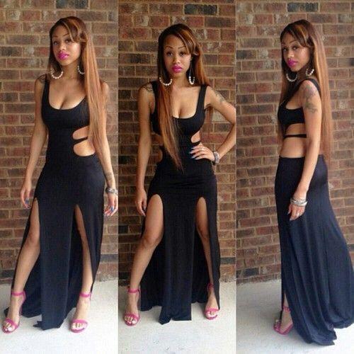 5b0456d95 BrytCouture Sexy U Neck Tank Sleeveless Black Ankle Length Dress