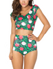 2 Piece 3D Print Crop Top and High Waist Floral Short