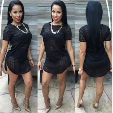 Sexy Short Sleeves Black Polyester Mini Dress