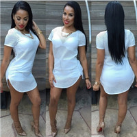 Sexy Short Sleeves White Polyester Mini Dress