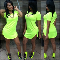Sexy O-Neck Short Sleeves Cotton Blend Mini Green Dress
