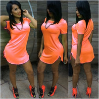 Sexy O-Neck Short Sleeves Cotton Blend Mini Orange Dress
