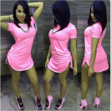 Sexy O-Neck Short Sleeves Cotton Blend Mini Pink and Blue Dress