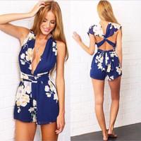 Sexy Floral Print Blue Blending Jumpsuits