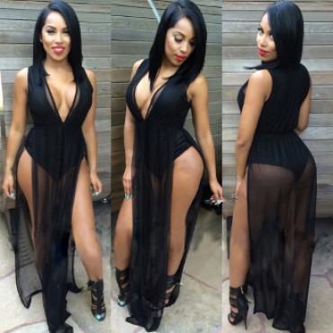 Sexy Sleeveless V-Neck Black Polyester Maxi Dress