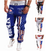 American Flag Star Print Hip Hop Style Joggers In Blue