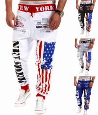 American Flag Star Print Hip Hop Style Joggers In White