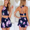 Two-piece Flower Print Blue Blending Jumpsuits