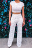 Runway Style White Lace Regular Jumpsuits Set