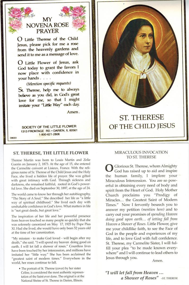 Saint Therese Of The Child Jesus Prayer Card