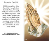 Prayer for Pro Life Card