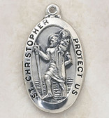 Saint Christopher pendant on chain, boxed