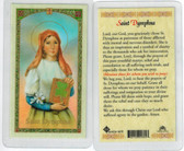 St. Dymphna, Laminated prayer card