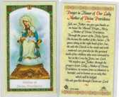 Prayer in Honor of Our Lady Mother of Divine Providence, laminated prayer card