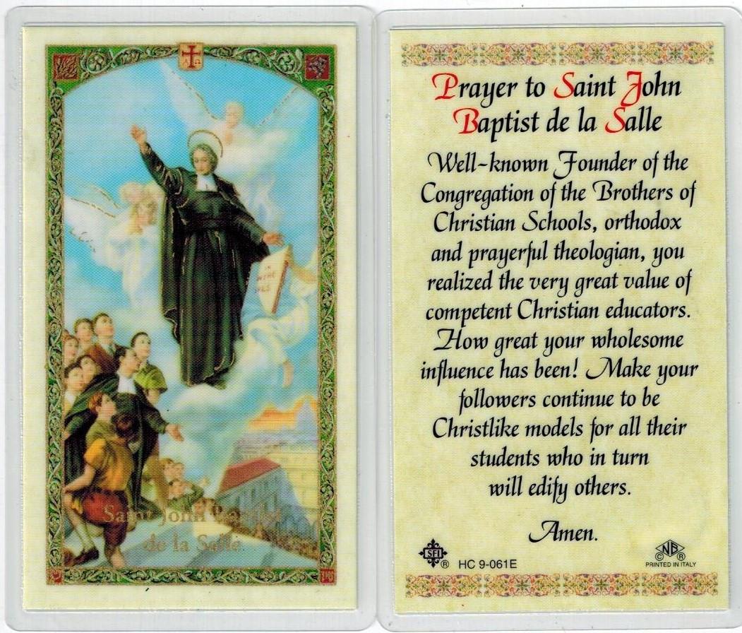 Prayer To Saint John Baptist De La Salle Laminated Prayer Card