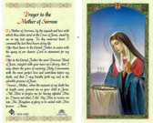 Prayer to the Mother of Sorrow, laminated prayer card