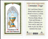 Laminated Chalice Prayer Card for Boys and Girls. In celebration of First Communion.