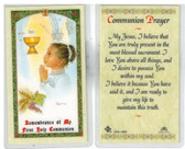 Laminated First Communion Prayer Card for Ethic Girls. In remembrance of my First Communion.