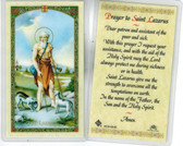Laminated Prayer Card of Saint Lazarus.