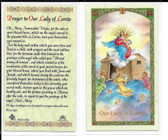 "Laminated Prayer Card ""Prayer to Our Lady of Loreto""."