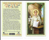 """Laminated Prayer Card """"A Prayer to the wound of the Holy Shoulder""""."""