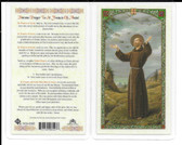 "Laminated Novena Prayer Card ""Prayer to St. Francis of Assisi""."