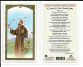 """Laminated Prayer Card """"Saint Francis of Assisi Assorted Quotes""""."""