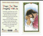 "Laminated Prayer Card ""Prayer for Those Struggling with Sin""."