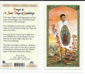 "Laminated Prayer Card by ""St. Juan Diego of Guadalupe""."