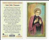 Laminated Prayer Card Saint John Neumann
