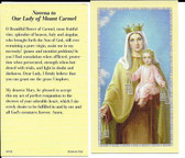 "50 cent Prayer Cards ""Novena to Our Lady of Mount Carmel"""