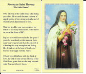 "50 cent Prayer Cards of ""Novena to Saint Theresa"""