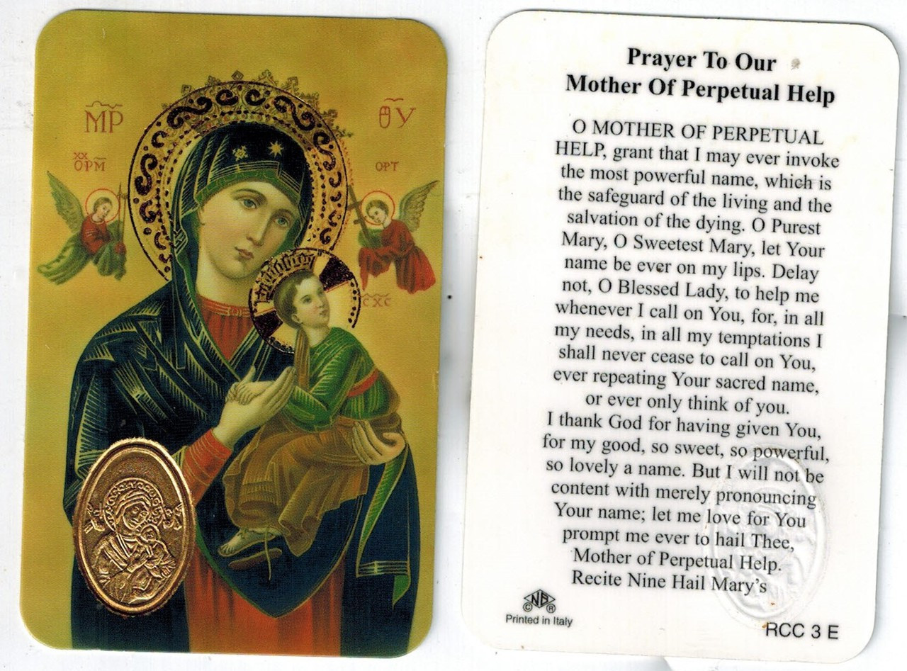 prayer to our mother of perpetual help prayer card with medal