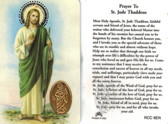 Prayer to Saint Jude Thaddeus Prayer Card with Medal