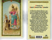 Laminated Prayer Card to Saint Simon the Apostle featuring Image of Blessed Mother Giving Saint Simon Stock the Brown Scapular