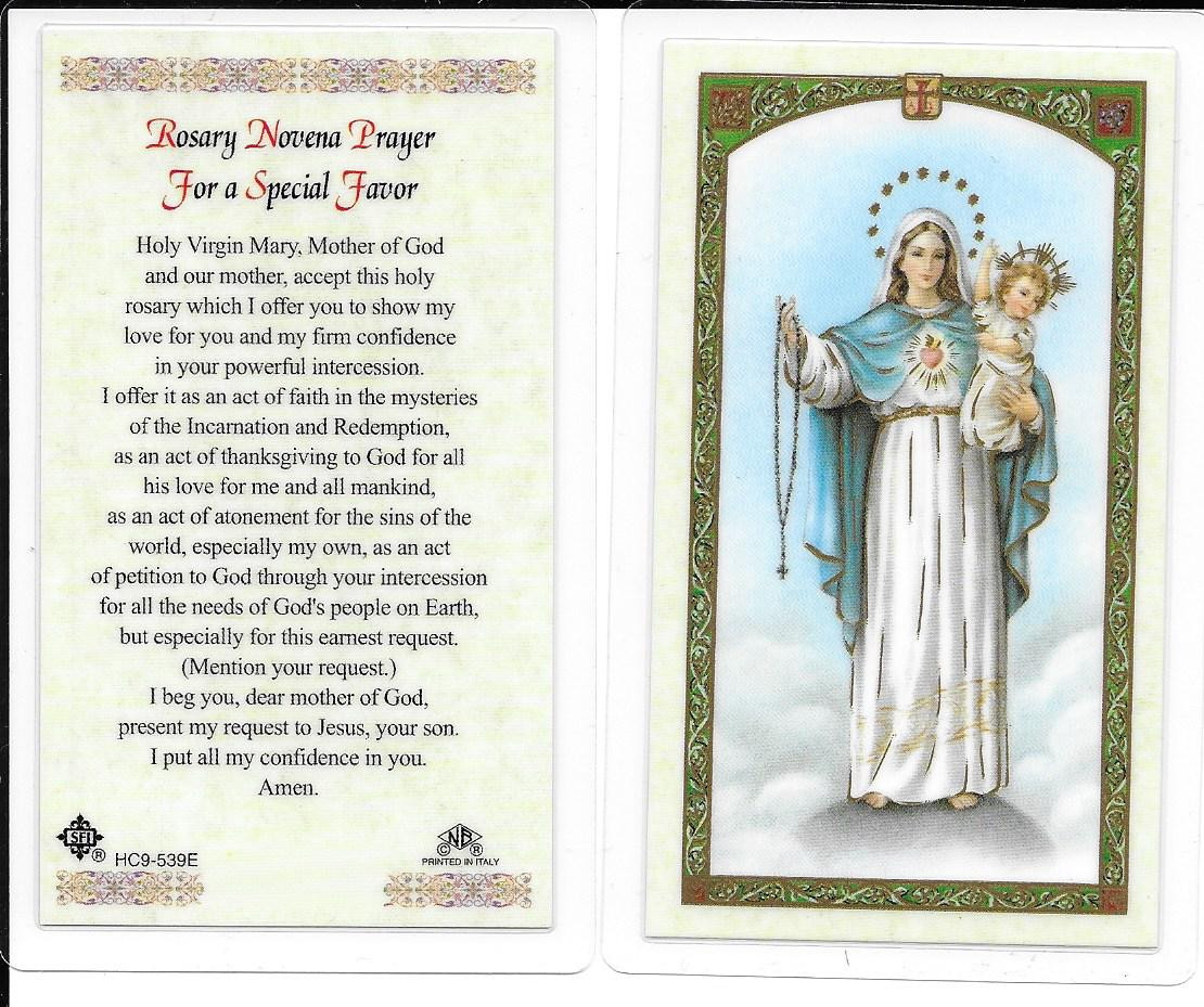 "Laminated Prayer Card ""Novena Prayer for a Special Favor"""
