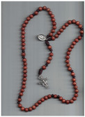 Wooden Bead and Brown Cord Seven Decade Rosary with San Damiano Crucifix and St. Francis Medal