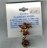Guardian Angel Pin with faux amethyst stone