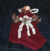 Burgundy Velvet Angel Ornament with Pine Garland