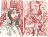 Jesus and the Pharisees, Original Print by Tvrtko Klobucar, Canadian artist