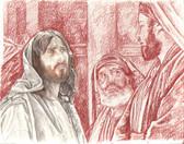 Jesus and the Pharisees, Original Print by Tvrtko Klobucar, Canadian artist