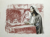 Jesus in the Temple, Original Print by Tvrtko Klobucar, Canadian artist.